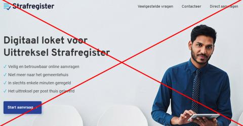 Screenshot van de website strafregister.be